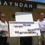 Alan and Cynthia Churchward EHQ displaying the panel at the opening day