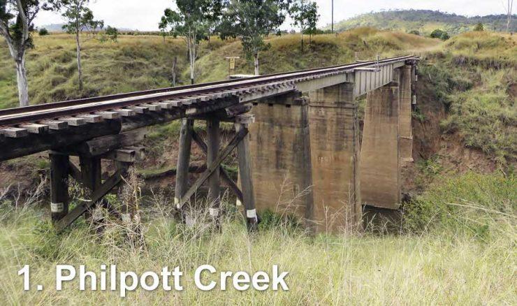 Railway bridge across Philpott Creek