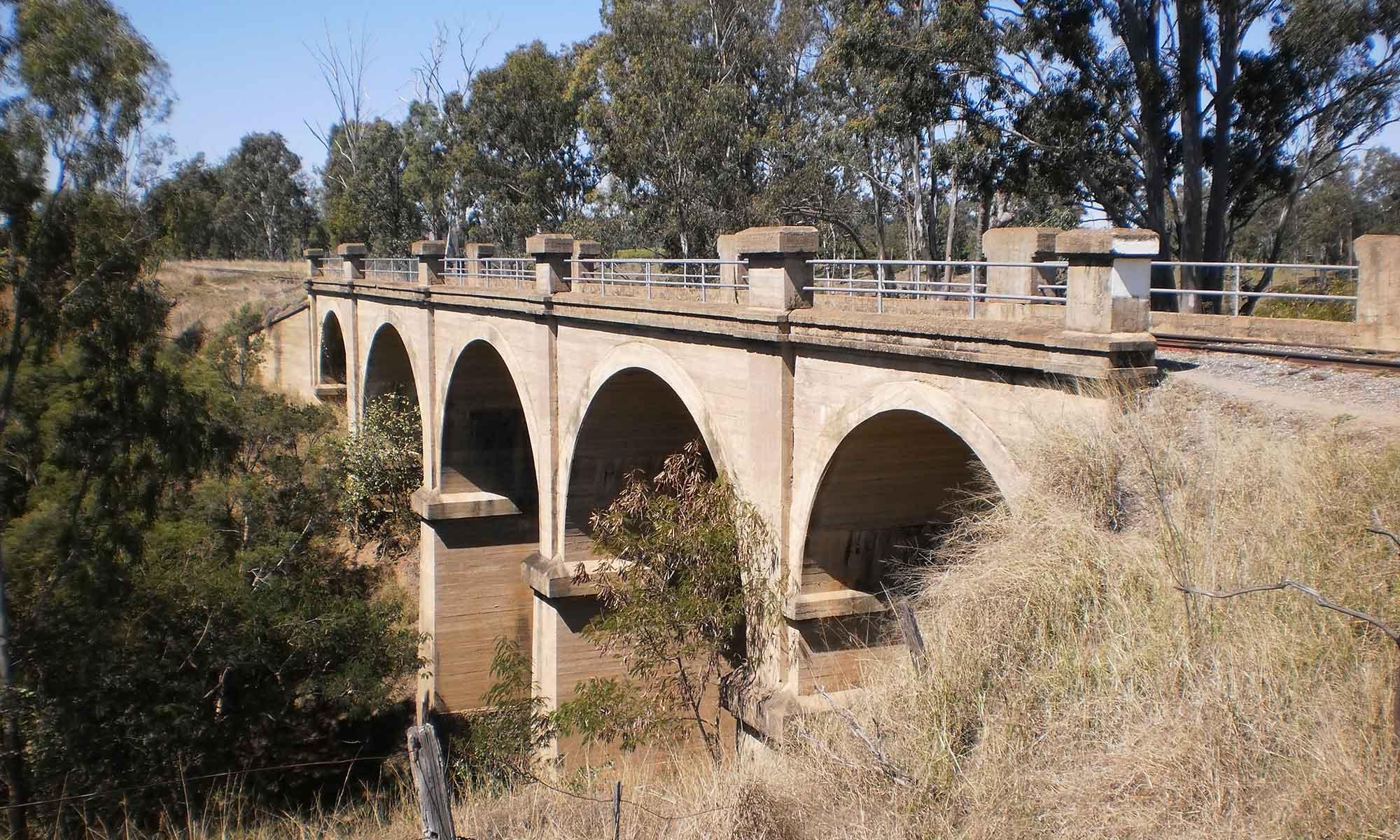 Concrete Viaduct Bridge north of Gayndah on the Boyne Burnett Rail Trail