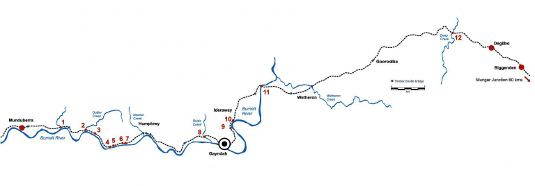 Detailed bridge rail map Degilbo to Mundubbera
