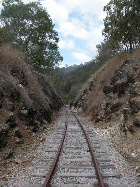 rail line Through a cutting
