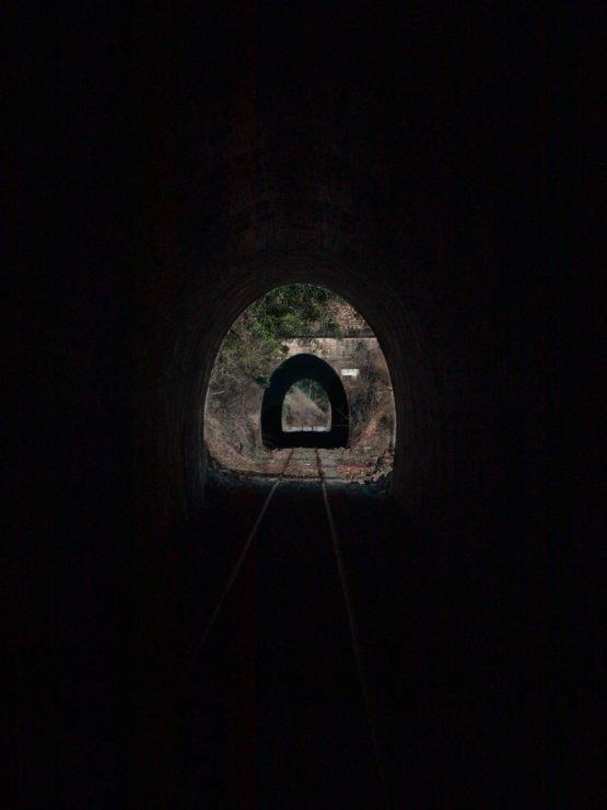 View through 2 rail trail tunnels