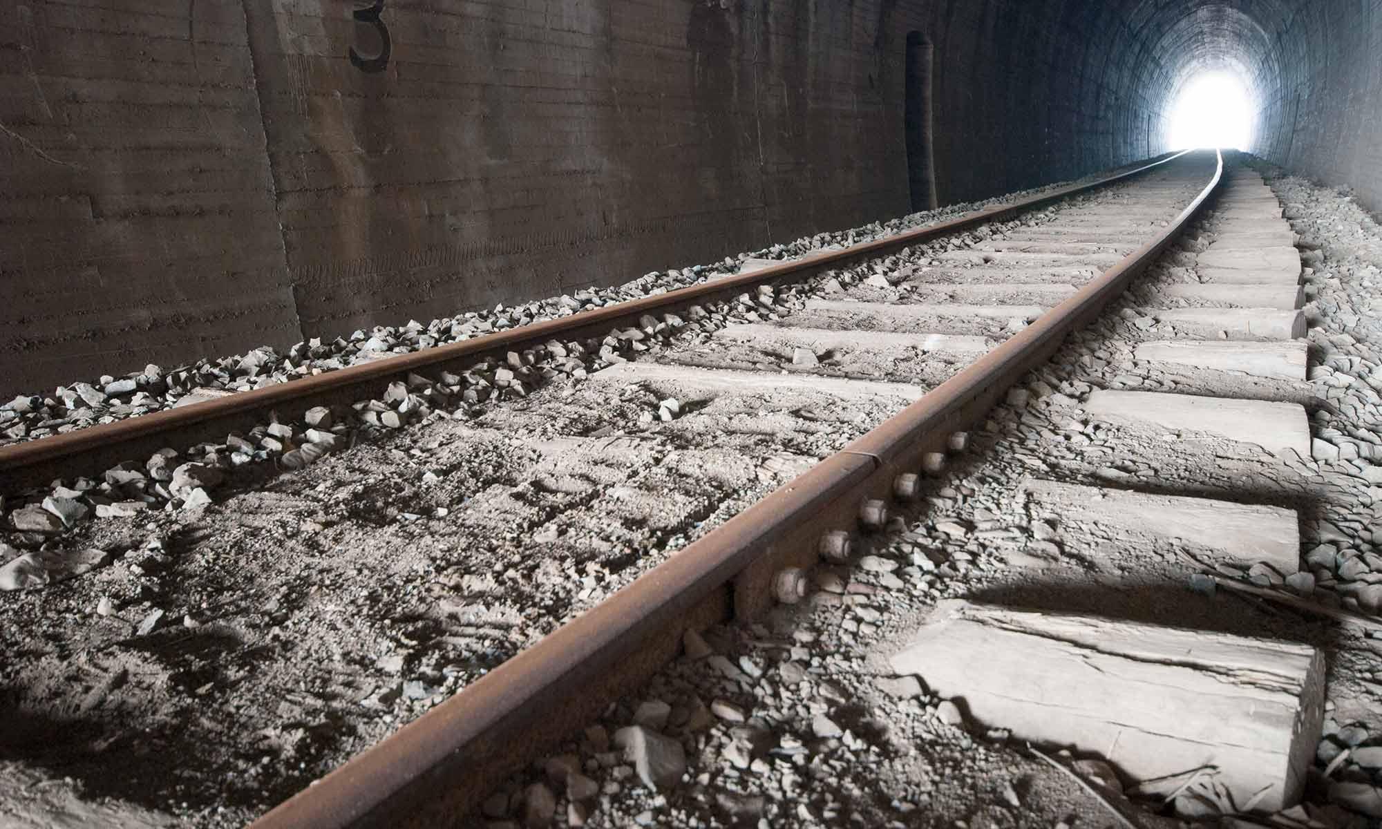 hogback sleepers in rail trail tunnel