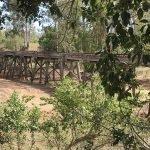 wooden railway bridge across the 6 mile with debris removed