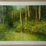 painting of forest scene with water pool on kroombit tops