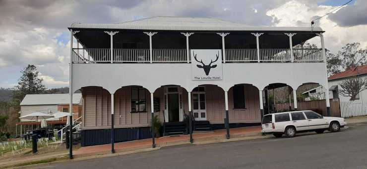 Linville Hotel from front, 2 story old fashioned wooden queenslander