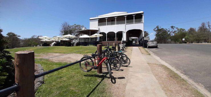 bike rack outside Linville Hotel