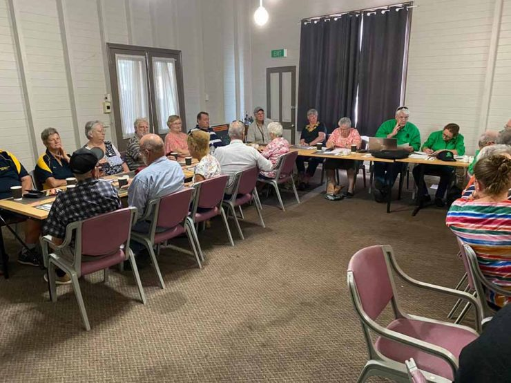 Meeting in Gayndah, group of people seated at tables