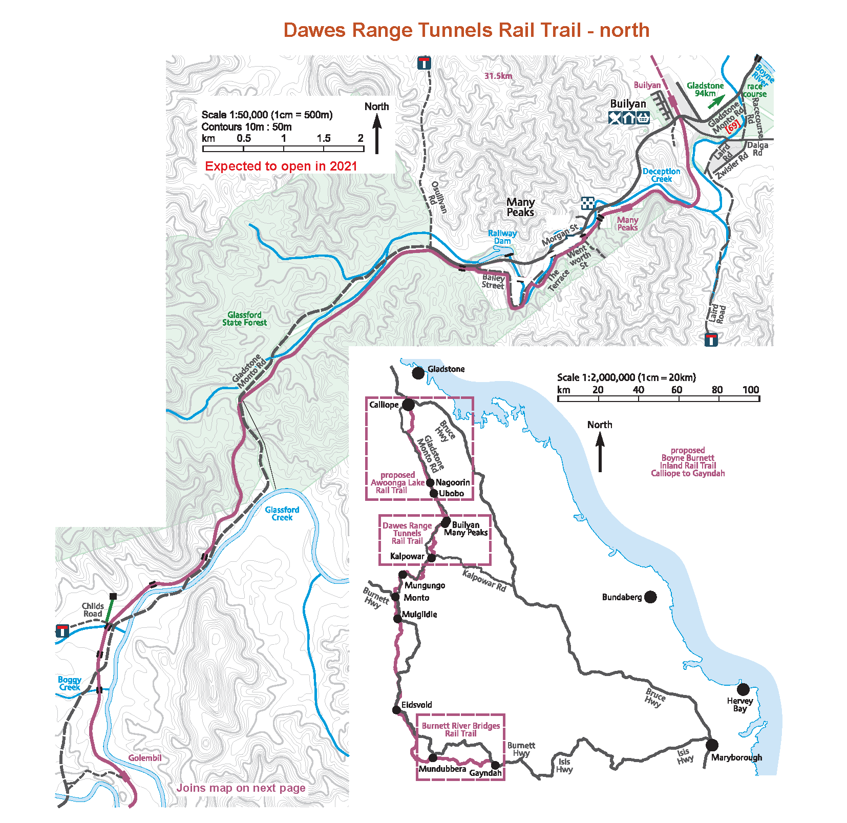 a map of the Boyne Burnett Inland Trail