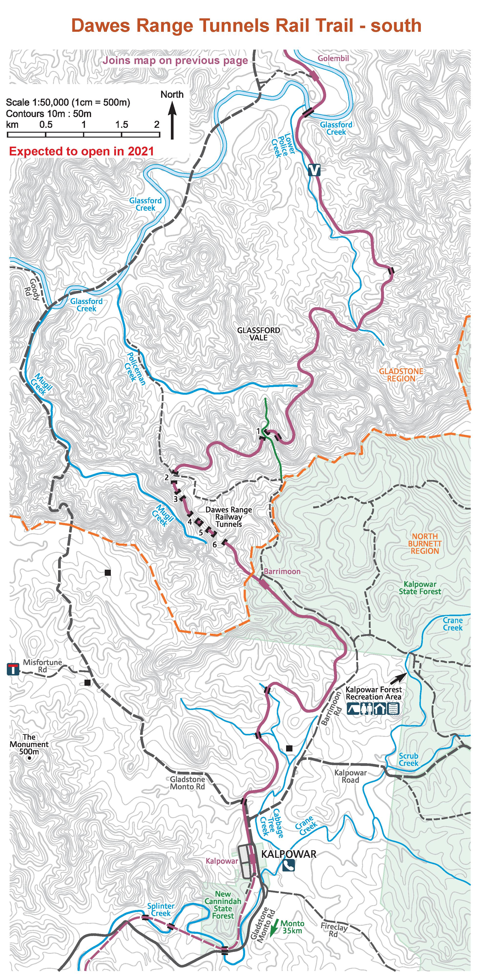 a map of the Boyne Burnett Rail Trail