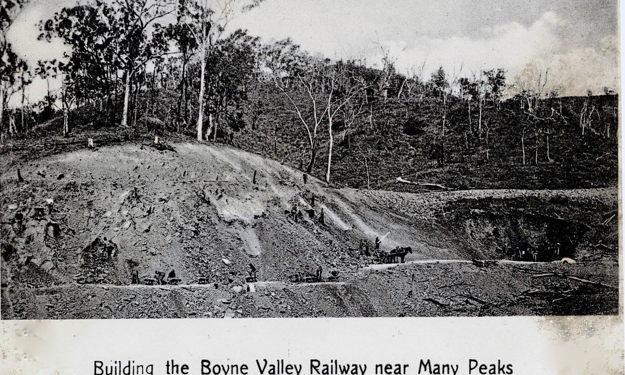 old black and white photo of workers building the Many Peaks railway